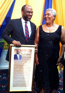 Our CEO Mrs. Winsome Wilkins and Hall of Fame Inductee Mr. Earl Jarrett share a laugh.